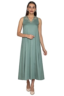 Teal Flared Maxi Dress by Shiori