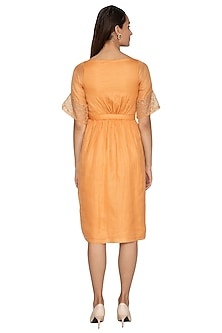 Yellow Kota Silk Dress With Embroidered Sleeves by Shiori