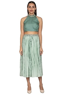 Light Teal Green Printed Skirt With Belt by Shiori