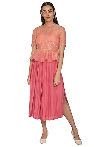 Coral Pleated Wrap Skirt by Shiori