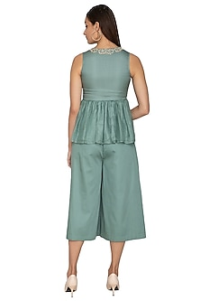 Teal Green Pleated Flared Pants by Shiori