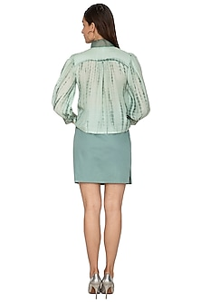 Light Teal Green Printed & Embroidered Top by Shiori