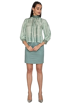 Teal Green Straight Fit Skirt With Embroidered Belt by Shiori