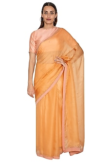 Mango Yellow Embroidered Saree Set by Shiori