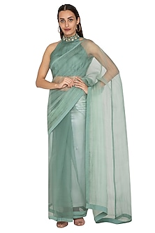 Teal Green Embroidered Saree Set by Shiori