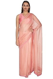Peach Embroidered Saree Set by Shiori