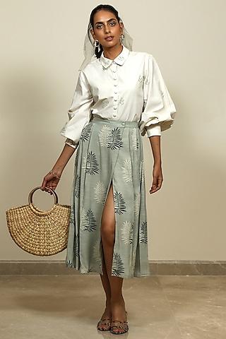 Sage Green Printed Wrap Skirt by Shiori