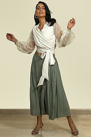 Moss Green Wrap Skirt by Shiori