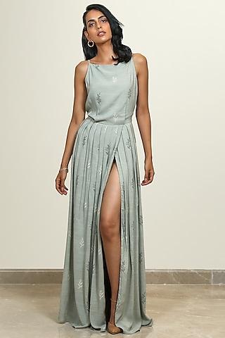 Sage Green Pleated Maxi Dress by Shiori