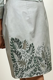 Sage Green Embroidered Skirt by Shiori