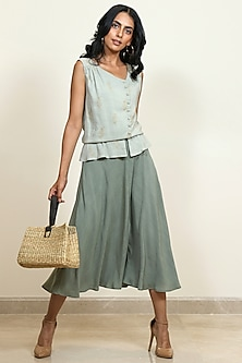 Moss Green Printed Flared Skirt by Shiori
