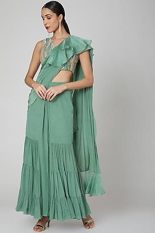 Green Embroidered Ruffled Saree Set by Shivangi Jain