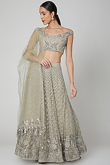Grey Scallop Embroidered Lehenga Set by Shivangi Jain