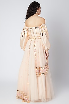 Peach Embroidered Lehenga With Off Shoulder Blouse by Shivangi Jain