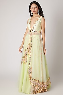 Mint Green Lehenga With Embroidered Jacket by Shivangi Jain