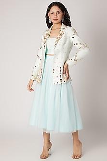 Sky Blue Mirror Embroidered Jacket Lehenga Set by Shivangi Jain