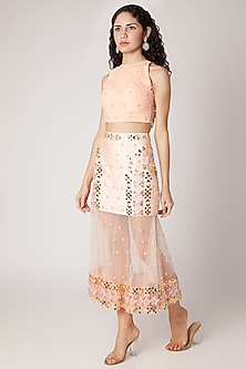 Peach Embroidered Crop Top With Skirt by Shivangi Jain