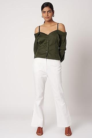 Olive Green Off Shoulder Top by Shivangi Jain