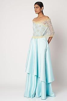Sky Blue Dress With Cape by Shivangi Jain