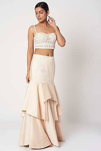 Peach Embellished Bustier With Skirt by Shivangi Jain