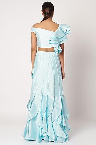 Sky Blue Crop Top With Skirt by Shivangi Jain