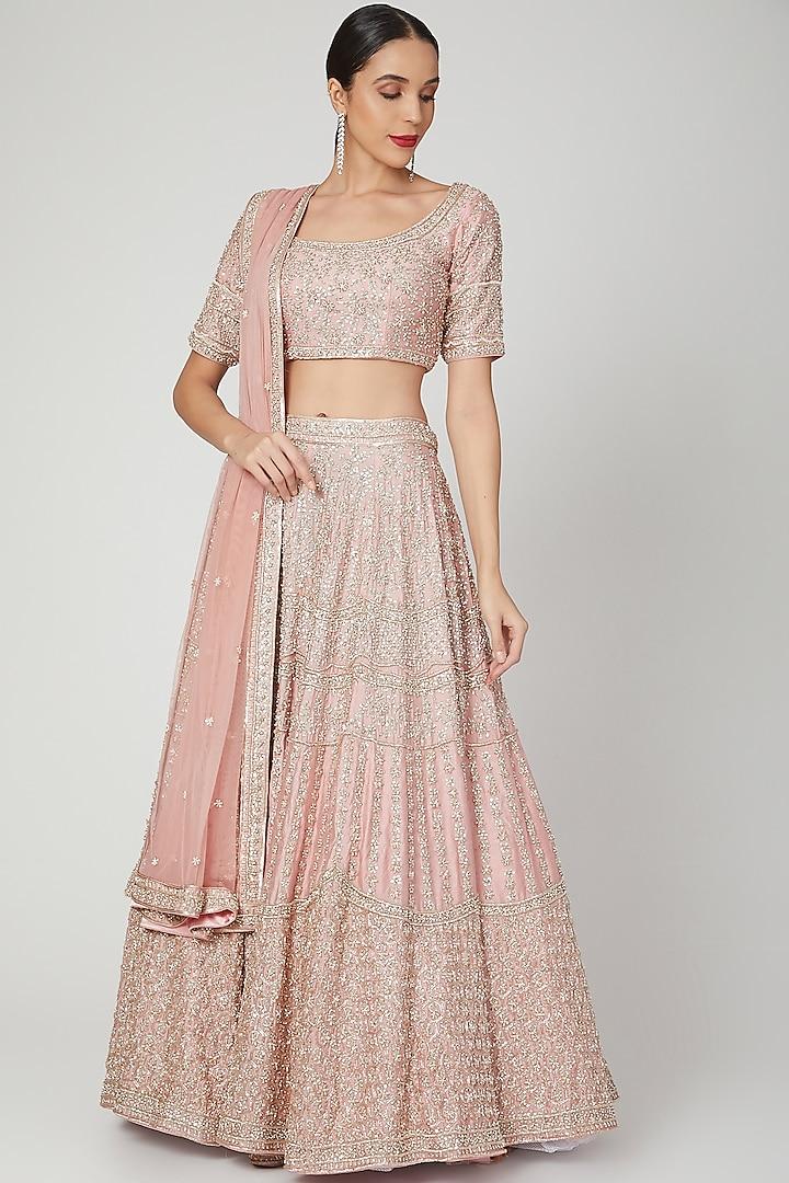 Blush Pink Embroidered Bridal Lehenga Set by Shiva