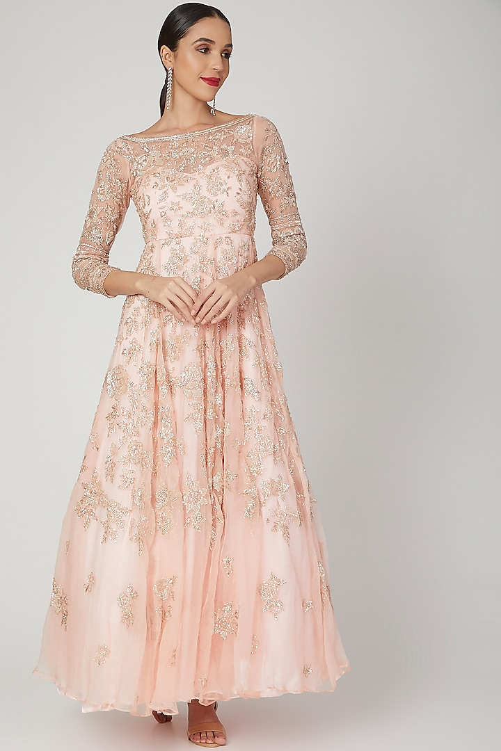 Blush Pink Embroidered Gown by Shiva