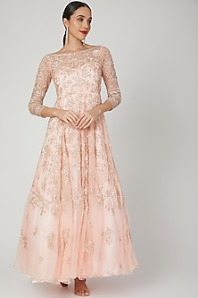 Blush Pink Embroidered Gown by Shiva-POPULAR PRODUCTS AT STORE