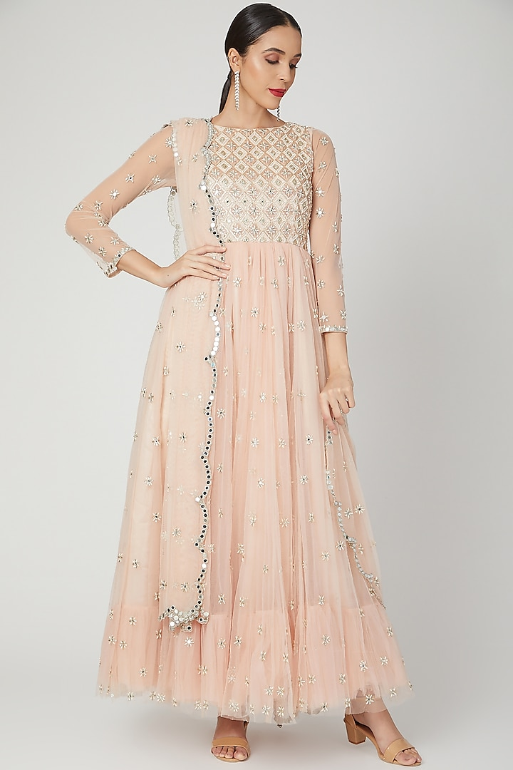 Peach Embroidered & Printed Anarkali Set by Shiva