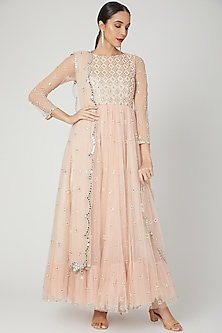 Peach Embroidered & Printed Anarkali Set by Shiva-POPULAR PRODUCTS AT STORE