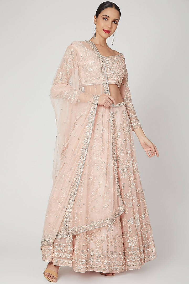 Blush Pink Floral Embroidered Lehenga Set by Shiva