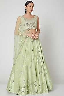 Light Green Lehenga Set With Mirror Work by Shiva-POPULAR PRODUCTS AT STORE