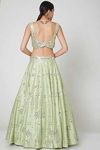 Light Green Lehenga Set With Mirror Work by Shiva