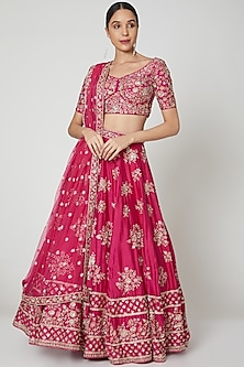 Fuchsia Embroidered Lehenga Set by Shiva-POPULAR PRODUCTS AT STORE