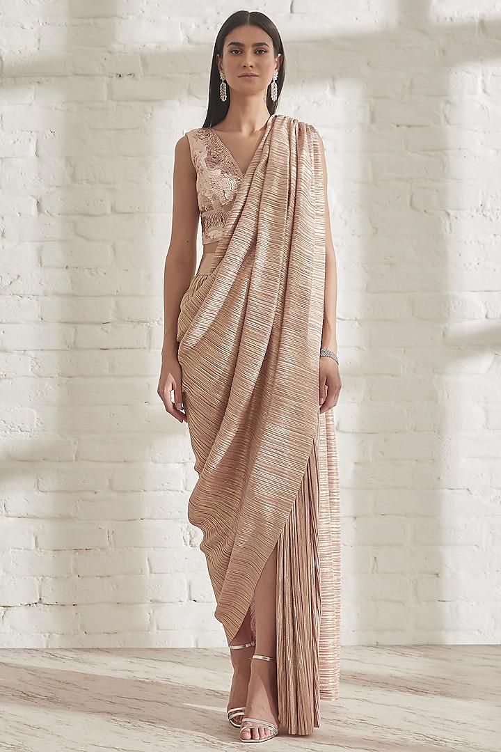 Pink Gold Pre-Draped Metallic Saree by 431-88 By Shweta Kapur