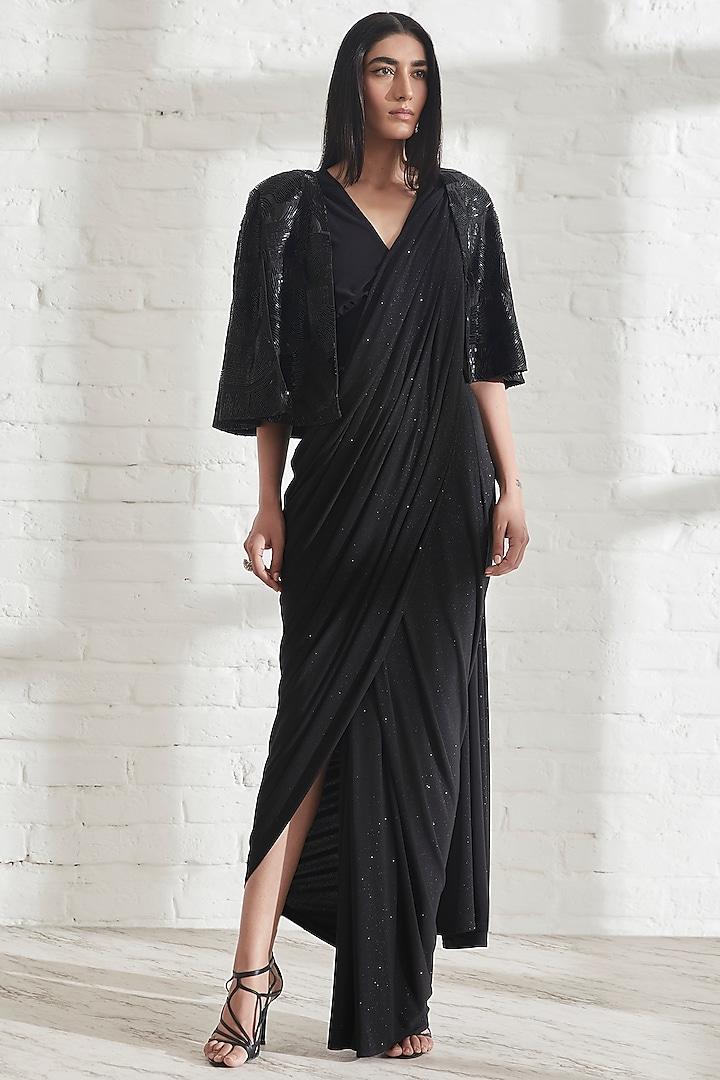 Black Jersey Saree by 431-88 By Shweta Kapur