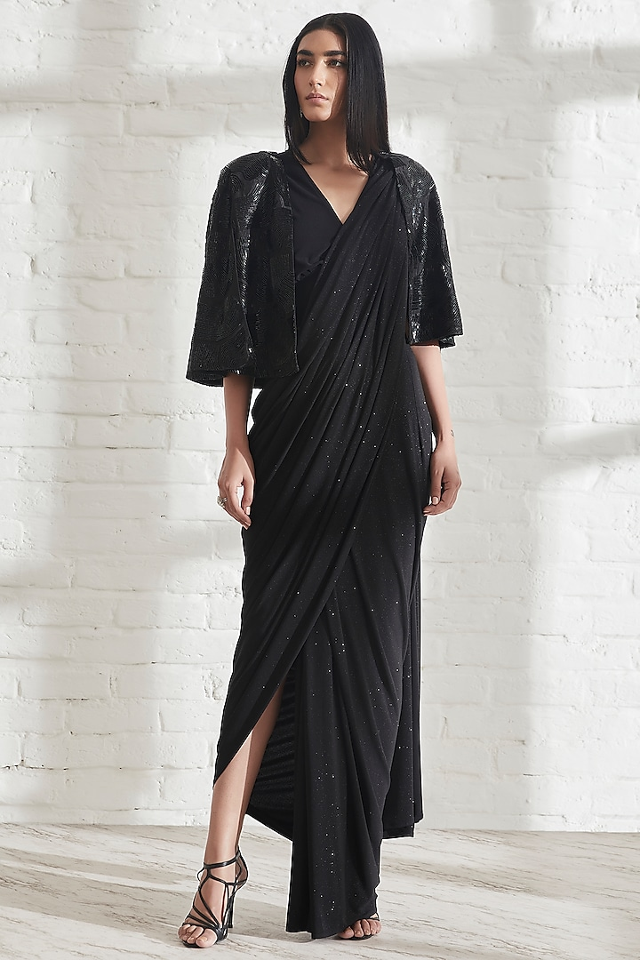 Black Hand Embroidered Cape by 431-88 By Shweta Kapur