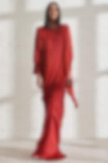 Red Satin Jacket by 431-88 By Shweta Kapur