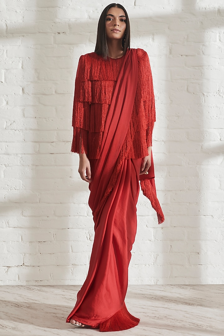Red Pre-Pleated Saree by 431-88 By Shweta Kapur