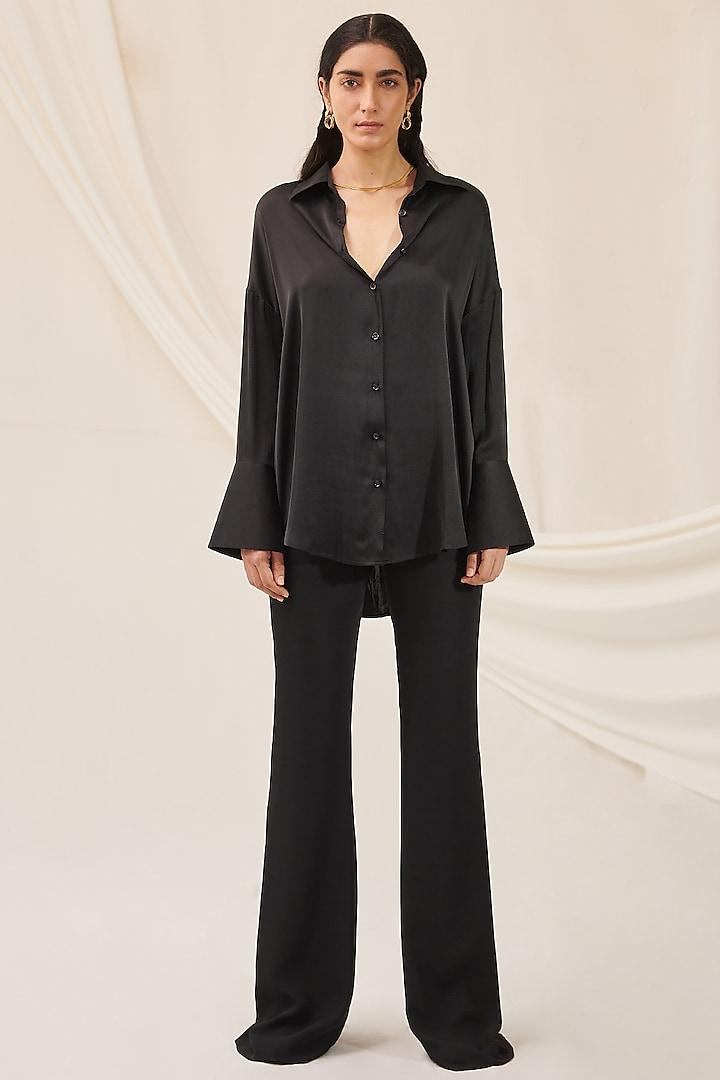 Black Stretch Silk Shirt by 431-88 By Shweta Kapur