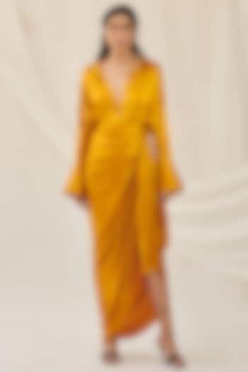 Ochre Yellow Stretch Silk Shirt by 431-88 By Shweta Kapur