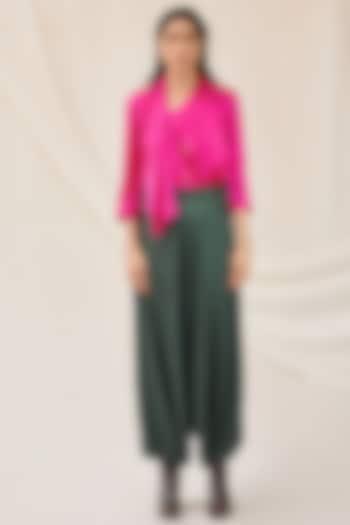 Fuchsia Stretch Satin Shirt by 431-88 By Shweta Kapur