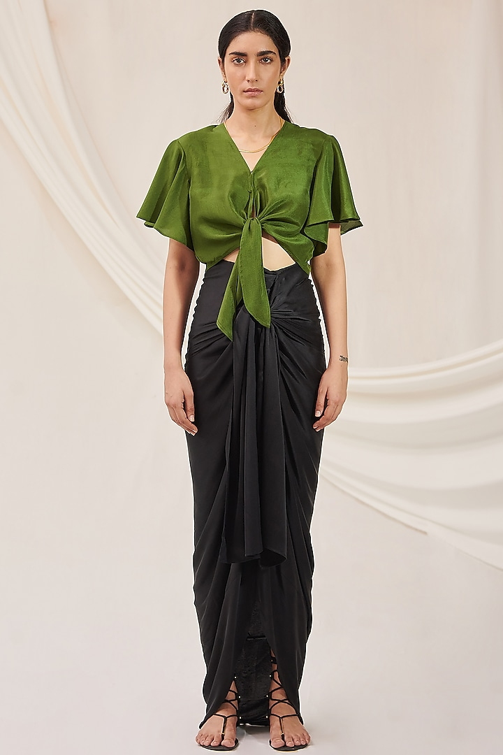 Olive Green Silk Crop Top by 431-88 By Shweta Kapur
