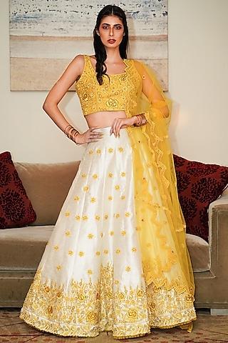 Yellow & White Embroidered Lehenga Set by Shloka Sudhakr