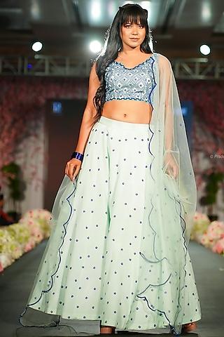 Light Blue Embroidered Lehenga Set by Shloka Sudhakr