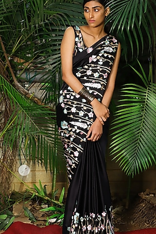 Black Thread Embroidered Saree Set by Shloka Sudhakr