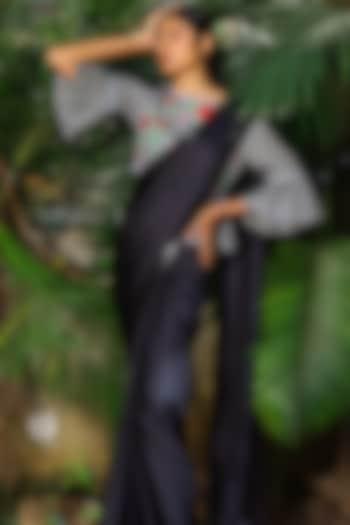 Black Saree Set With Embroidered Blouse by Shloka Sudhakar