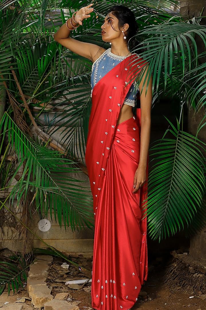Red Hand Embroidered Saree Set by Shloka Sudhakar
