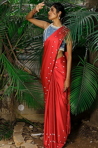 Red Hand Embroidered Saree Set by Shloka Sudhakr