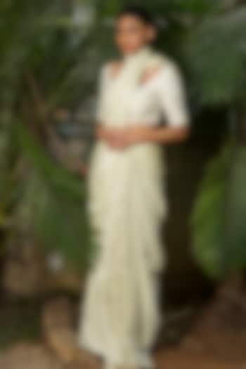 Olive Green Thread Embroidered Saree Set by Shloka Sudhakar